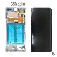 Display Pantalla LCD Touch Marco Ecra Plata Samsung Galaxy S10 5G G977F ORIGINAL