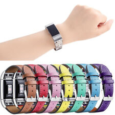 For Fitbit Charge 2!2020 Stitched Genuine Leather Bangle Wrist Band Strap Belt