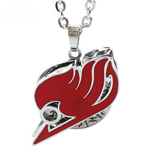 Hot Sale Anime Fairy Tail Necklaces Red Metal Rotatable Pendant Jewelry Cosplay