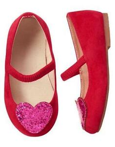 NWT Gymboree Cozy Valentine Red heart Flats Dress shoes Toddler girls 5,6,7,8