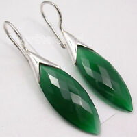 "925 Sterling Silver GREEN ONYX Stunning Dangle Earrings 1.7"" Collectible"