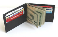 MEN GENUINE LEATHER SPRING MONEY CLIP WALLET BIFOLD Plain Credit Card Holder New