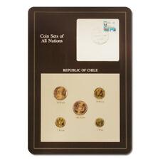Chile Type Set & Postal Cache 5 Coins BU Descriptive Card