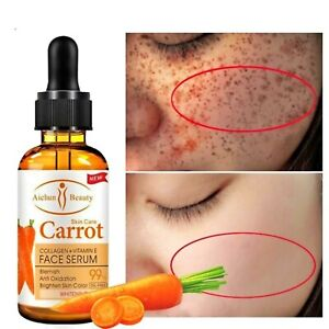 NATURAL CARROT ESSENCE 99% Dark Skin Care Collagen Vitamin E Whitening Oil Serum