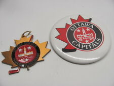 Ottawa Capitals 1990 AAA Pinback Button & Medal Maple Leaf  Badge