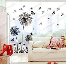 Dandelion Flowers Black Wall Stickers Art Decal Mural Home Decor Living Room DIY