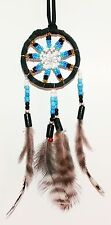 Traumfänger D= 5,0 cm schwarz türkis Dreamcatcher Perlen, Indianer Federn, Deko