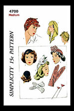 HAT w Visor Gloves Fabric Pattern Vintage ROSIE THE RIVETER SIMPLICITY 4700 MED