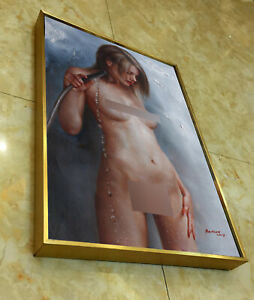 "Framed art prints canvas transfer from oil painting bathing nude girl 12""x18"""