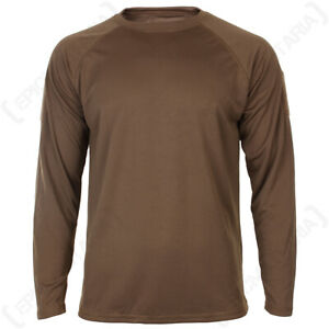 Quickdry Long Sleeve T-Shirt - Dark Coyote Sports Base Under Layer New