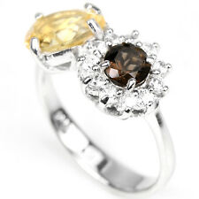 Natural CITRINE, SMOKY QUARTZ & White CZ 925 STERLING SILVER RING Size 5.75