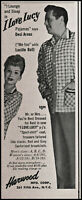 1954 I Love Lucy Pajamas Lucille Ball Desi Arnaz vintage photo print ad L38