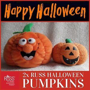 2x vintage RUSS Jack-o-Lantern Halloween pumpkin plush beanie baby soft toy