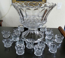 """Stunning Large Heisey 15"""" Punch Bowl with stand & 16 cups Colonial 300 Pattern"""