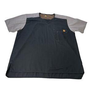 Carhartt Mens Ripstop Colorblock Utility Scrub Short Sleeve Top Black Gray Large