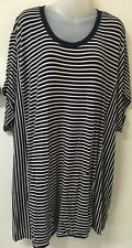 VIRTUELLE TAKING SHAPE Black/Pink Striped, Short Slv Top w Pockets -L- Near New