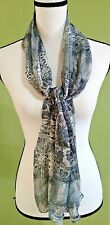 """SYMPHONY Vintage Gray Black White Rectangle Scarf 61"""" X 13"""" Floral Design Italy"""
