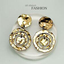 Boucles d`Oreilles Clip Pince Doré Art Deco Trois Anneau Metal Vintage A10OSC4