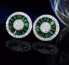 Gift Boxed Art Deco Faux Emerald Diamond Paste Crystal Silver Stud Earrings UK