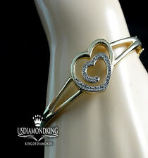 WOMEN'S LADIES DOUBLE HEART GENUINE NATURAL REAL DIAMOND BANGLE BRACELET 7.5""