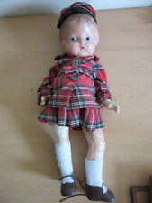 "Vintage Effanbee Member Patsy Composition Doll 16"" plaid outfit"