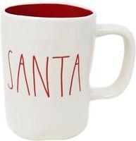 """Rae Dunn """"SANTA"""" White Christmas LL Red Letters Ceramic Coffee Mug NWT"""