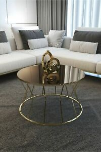 Center Table Hourglass Modern Coffee Table Big Coffee Table Gold Leg Bronze 1Pc
