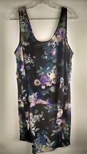 Decree Women's Tank Top Black Floral Size XL Hi Lo Hem Sheer