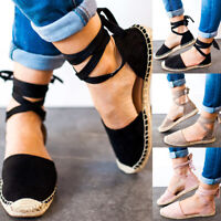 Womens Flat Ankle Strappy Espadrilles Summer Ladies Sandals Casual Shoes 6-10.5