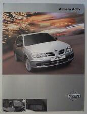 NISSAN ALMERA ACTIV 1.5 orig 2000 2001 UK Mkt Sales Brochure