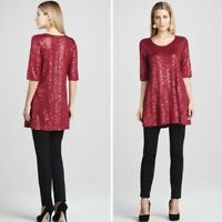 Eileen Fisher Red Sequin A Line 3/4 Sleeve Dress Silk Tunic Top Size XS