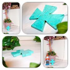 LUXURIOUS BLUE NATURAL TURQUOISE EXTRA LARGE CROSS PENDANT!