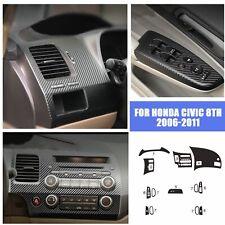 For Honda Civic 8th 2006 2011 Carbon Fiber Abs Air Vent Outlet Cover Trim 13pcs Fits 2006 Civic