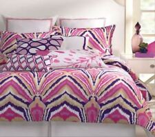 Trina Turk PEACOCK IKAT PURPLE PINK Full Queen 3pc Comforter Set BRAND NEW