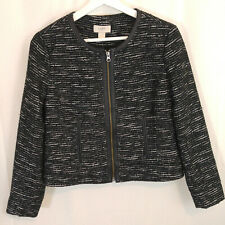 Ann Taylor Loft X-Small Black White Tweed Jacket Zipper Front Career Church