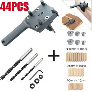 44pcs Bits Hole Locator Carpenters Wrentch Woodworking Dowel Jig Set Drill Guide