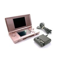 Nintendo DS Lite Rose Pink Handheld Game Console w/ Charger Tested & Working [a]