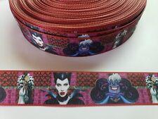 "5 Yards 1"" Disney villains Grosgrain Ribbon Hair Bow Supply."