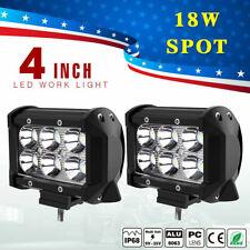 "2x 4"" 18W LED Work Light 4WD Offroad Spot Fog ATV SUV UTE Driving Lamp Fits Jeep"