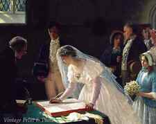 Bride Groom Wedding - Signing the Register by E B  Leighton  8x10  Print 354