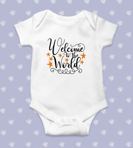 Welcome to the World Baby Bodysuit   Baby Shower Gift   Cute Baby Clothes   Funn