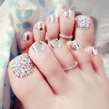 24 x New 3D Metallic Shimmer Diamond Silver Short Fake False Toe Nails Glue T147