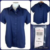 New COLDWATER CREEK No Iron Cotton Button Front Short Sleeve Shirt 14 Blue NWT