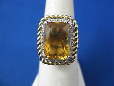 VINTAGE 10 YELLOW GOLD CITRINE RING SIZE 6.25