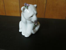 lladro 6356 polar bear seated with flowers - very rare