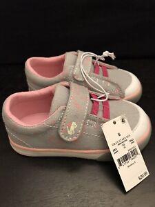Toddler Girls Shoes Size 4 See Kai Run Basics Monterey II Grey Pink Stars