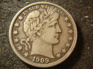 1909 VF XF  Barber Liberty Half Dollar Full Liberty BBX