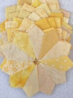 DRESDEN PLATES Quilt Blocks, Yellow Prints, No Raw Edges, Set Of 12, 100% Cotton