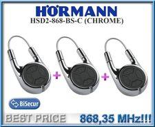 3 X Hörmann HSD2-C 868 Chrom Fernbedienung, 868,3MHz BiSecur 2-Kanal Handsender