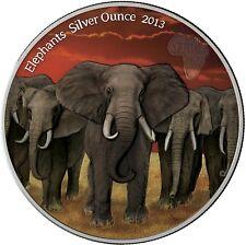 Ghana 5 Cedis 2013 Elefantenherde Elephants Silver Ounce Antique Finish in Farbe